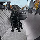Pet Seat Cover with Seat Anchors - Waterproof, Hammock - Side Flaps - Non-slip Silicone Backing Bonus Pair of Best Harness and Seat Belt for Cars, Trucks, Suv's and Vehicles - Grey