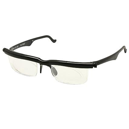Adlens Eyeglsses-4D a + 5D variable miopía lupa gafas de lectura (negro)