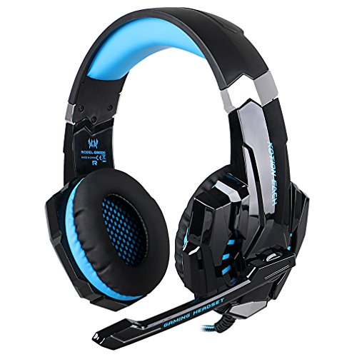 AFUNTA G9000 Stereo Gaming Headset for PS4, PC, Xbox One Controller, Noise Cancelling Over Ear Headphones with Mic, LED Light, Bass Surround, Soft Memory Earmuffs for Laptop Mac-Blue by AFUNTA (Image #1)