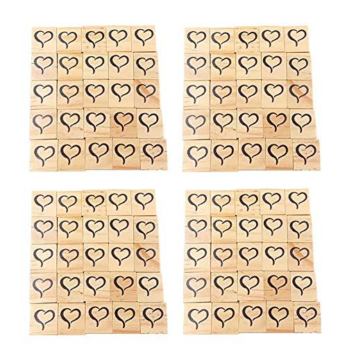 Mosichi 100Pcs Wooden Heart Symbol Blocks Slices Scrabble Tiles Square Cubes Wooden Blocks for Crafts Wood 2#