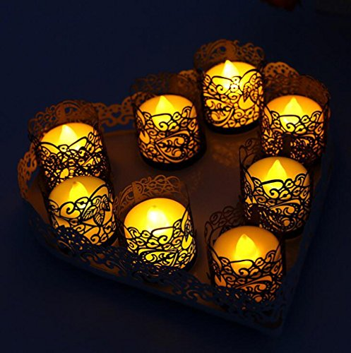 Votive Candle Wraps - CozyT 100 PACK Black Tea Light Votive Wraps Paper Candle Holder Laser Cut For Decorative Wedding Party
