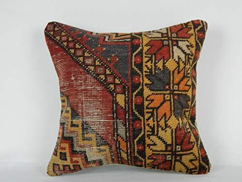 Vintage Woven Shabby Chic Cottage Decor, Vintage Turkish Kilim Pillow Cover, Rustic Farmhouse Cover, Boho Oushak Rug Pillow Cover 18'' x 18'' (45 x 45 Cm)