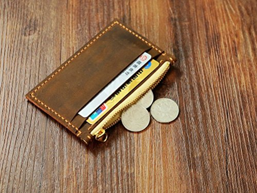 PERSONALIZED distressed leather card wallet , Minimalist Women Mens Wallet, leather front pocket wallet change coin wallet CW005SZ