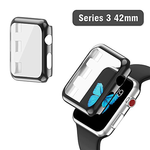 Snap Watch Series (Apple Watch Series 3 Case 42mm, 2win2buy Full Cover Apple Watch Cover Slim Hard PC Plated Protective Bumper Shell with 0.2mm Shockproof Sheld Guard Screen Protector for iWatch 2017/2016 (Black))