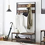 O&K FURNITURE 72 Inch Hall Tree with Storage Bench, Entryway Shoe Rack Bench with 7 Coat Hooks - Perfect for Closets, Hallway or Bedroom, Barn-Wood Finish