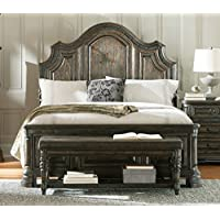 Coaster Carlsbad Collection 204041Q Queen Size Panel Bed with Distressed Detailing Solid Wood and Pine Wood Veneer in Vintage Espresso