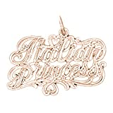 14K Rose Gold Italian Princess Pendant Necklace - 22 mm