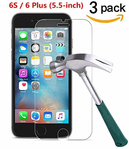 iPhone 6 Plus / iPhone 6S Plus Screen Protector, [ 3 Pack ] Asstar 9H Hardness 2.5D Tempered Glass Bubble-Free Screen Protectors for Apple iPhone 6S / iPhone 6 Plus (5.5-inch) (3 Pack)