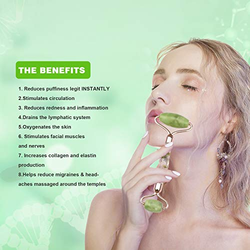 Jade Roller for Face Massage, Noiseless Facial Beauty Roller, Anti Aging Face Roller for Puffiness, Real Flower Infused Handle (Green)