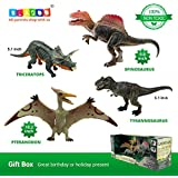 BLAGOO Dinosaur Toys Moving Parts 4 Figures up to 10.2 inches Big Set #6 including Free Augmented Reality 4D Cards