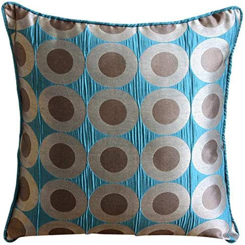 The HomeCentric Designer Teal Blue Euro Pillowcases 26×26 inch 65×65 cm , Jacquard European Pillow Covers, Circles Dots, Pattern, Polka Dots, Modern European Sham Covers – Teal Polka Dots