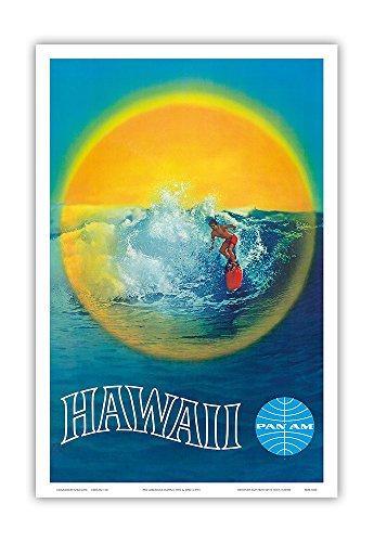 Hawaii - Pan American Airlines (PAA) - Hawaiian Surfer - Vintage Hawaiian Travel Poster c.1960 - Hawaiian Master Art Print - 12 x 18in (Poster Travel Hawaii)