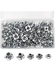 120 Pieces M3 M4 M5 M6 M8 Carbon Steel T-Nuts Four Pronged Tee Blind Inserts Nut Assortment Kit for Wood, Rock Climbing Holds, Cabinetry, Furniture