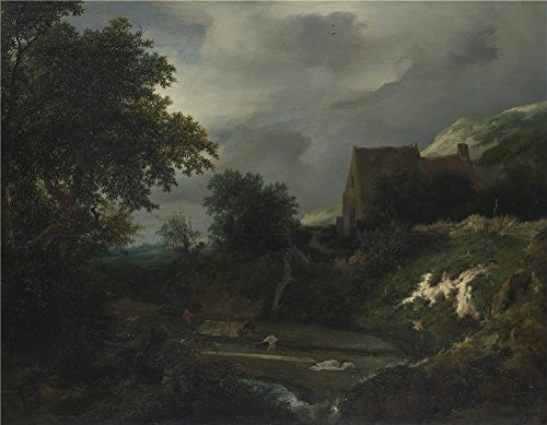 Ceramic Martini Plaque - Polyster Canvas ,the Reproductions Art Decorative Canvas Prints Of Oil Painting 'Jacob Van Ruisdael A Bleaching Ground In A Hollow By A Cottage ', 12 X 15 Inch / 30 X 39 Cm Is Best For Kitchen Artwork And Home Gallery Art And Gifts