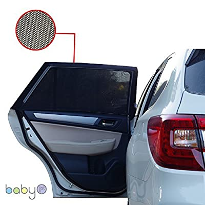 ATK ESSENTIAL PRODUCTS CAR Side Window Sun Shade (2 Pack) | Protects Your Babies and Kids from The Sun/UV Rays by up to 98% | Fits Most Models,NOT for Big SUV | Baby ON Board CAR Sign Included