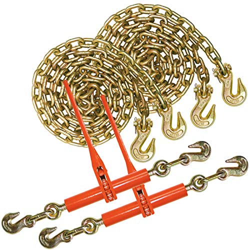 VULCAN Grade 70 Chain and Load Binder Kit - 3/8 Inch x 10 Foot - 6,600 Pound Safe Working Load