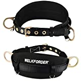 WELKFORDER Tongue Buckle Body Belt with Hip Pad and 2 Side D-Rings Personal Protective Equipment Safety Harness   Waist Fitting Size 30'' to 45'' for Work Positioning, Restraint