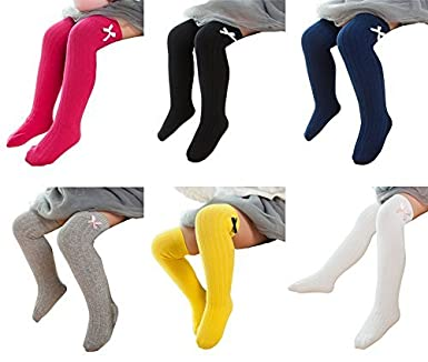 4e2f811e0 Little Girls Knee High Socks Cute Bowknot Cotton Cable Knit Toddler Dress  Socks Assorted 6 Colors