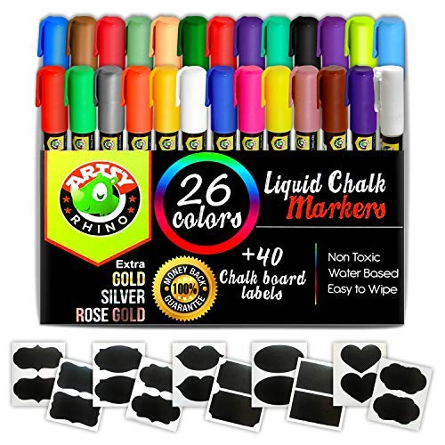 Liquid Chalk Markers - 26 Assorted Neon & Metallic Colors | Chalkboard Safe Dustless Wet Erase Paint Pens | Fine Tips for Blackboard, Glass & Windows, Bistro & Restaurant Menu Board Use, Kids Art