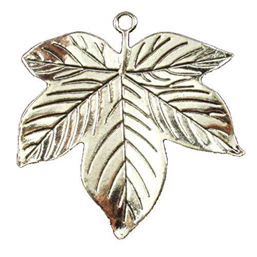 (New Carved Tibet Sliver Maple Leaves Pendant Bead Trendy Jewelry Women)