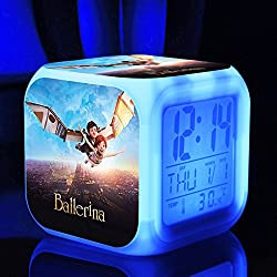 Ballerina the Dreams of becoming Ballerina Felicie Victor Alarm Clock with 7 Changing Colors Cute Cartoon LED Clock (Style 4)