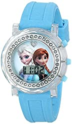 Disney Kids' FZN3581 Frozen Anna and Elsa Watch with Blue Rubber Band
