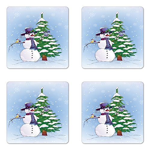 Ambesonne Christmas Coaster Set of Four, Snowman in
