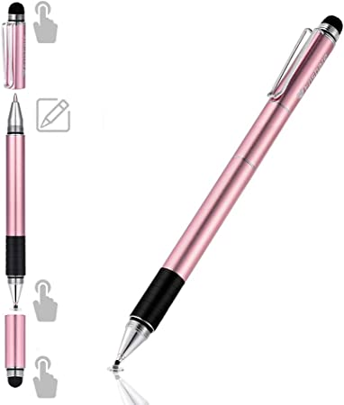 Android and More-Rose Gold Stylus for ipad Air Mini Apple High Sensitivity Capacitive Pen 2-in-1 Disc /& Fiber Tips Fine Point Stylus pen Drawing and Writing iPhone Stylus Pens for Touch Screens