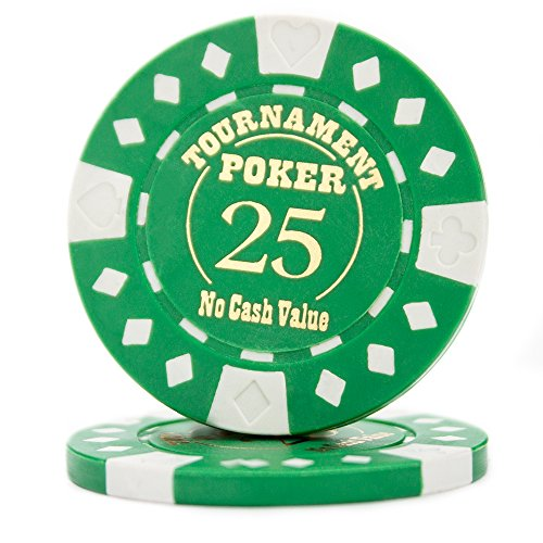 Pack of 25 Professional Tournament Hot-Stamped 12.5 Gram Poker Chips (Green)