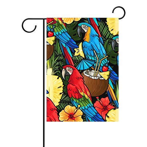 Cool-custom Colorful Macaw Parrot and Tropical Cocktail Coconut Milk Palm Tree Pineapple Flower Floral Polyester Garden Flag Banner 12 x 18 Inch for Outdoor Home Garden Flower Pot ()