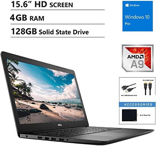 Dell Inspiron 15.6″ HD Business Laptop, AMD A9-9425, Radeon R5 Integrated APU, 4GB RAM, 128GB SSD, Wireless AC, Bluetooth, Webcam, MaxxAudio, HDMI, Windows 10 Professional, Accessory Bundle