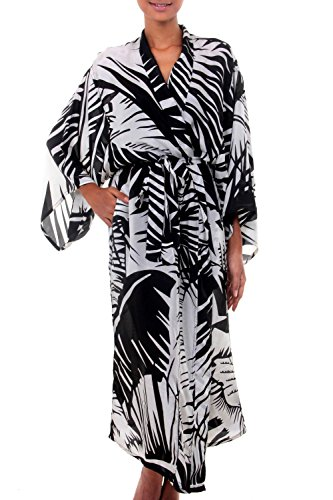 NOVICA White Women's 100% Silk Robe, Palm Frond Shadow' (One Size Fits Most) - Novica Silk Robe