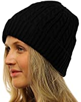 Ladies Thick Fleece Fur Lined Thick Warm Cable Knit Beanie Ski Snow Hat Cap