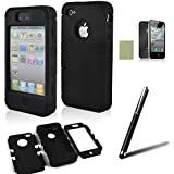 SQdeal Hybrid Hard Case Protective Cover for iPhone 4 / 4s Bundle with Stylus and Front/Back Screen Protector - Black