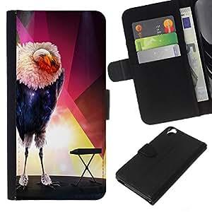 HTC Desire 820 - Dibujo PU billetera de cuero Funda Case Caso de la piel de la bolsa protectora Para (The Glamorous Bird)