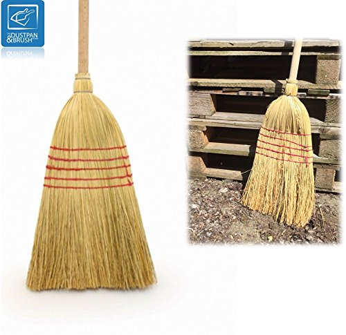 Traditional Wooden Straw Corn Broom Garden Yard Stable Brush - Old Style American Natural Witches Flat Corn Sweeping Broom Brush