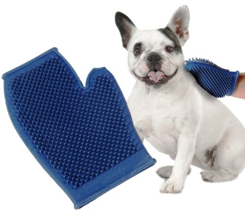 Pet Buddies PB5583 Dog and Cat Grooming Glove- One Size Fits All, Rubber, Blue, My Pet Supplies