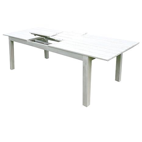 Tavolo Allungabile Legno Esterni.Tavolo Allungabile 150 200cm In Legno Acacia Bianco White Old