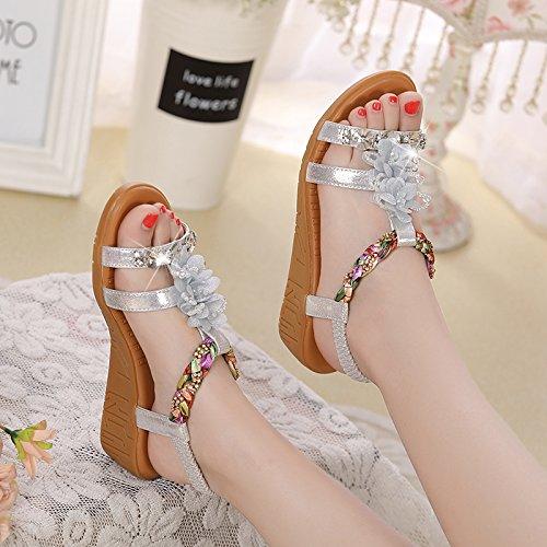 GTVERNH-4.5Cm Silber Sandalen Frau Sommer Muffin Unteren Hang Mit Dicksohlige Schuhe Blaumen Aus Diamant Weichen Boden Schuhe