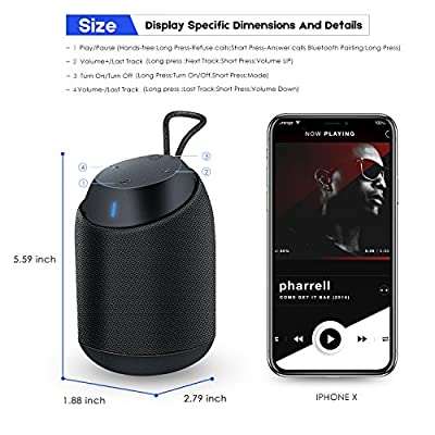 Bluetooth Speakers, BUGANI [Mini Diver] Outdoor Portable IPX7 Waterproof Wireless Speaker with Loud Stereo Sound, Rich Bass, 8-Hour Playtime for iPhone, Samsung and All Bluetooth Devices - (BLACK)