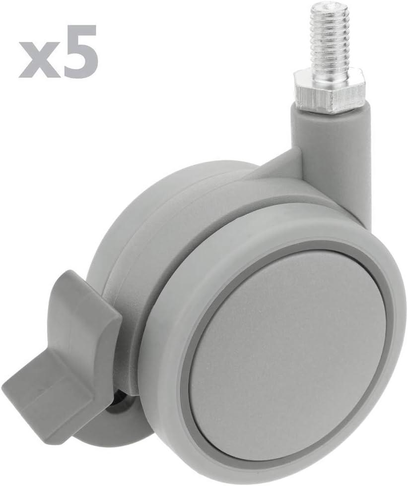 Lenkrollen Schwenkrollen Industriell Rad aus Nylon und Polypropylen mit Bremse 60 mm M10 5 pack PrimeMatik