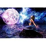 Mermaid Sea Moon Night Fantasy Fabric Silk Poster Print Home Decoration A1222-41