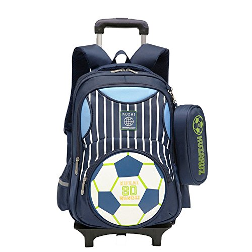 Adanina Cartoon Printed Football Trolley Backpack Elementary Book Bag Primary School Bag with Wheels for Kids