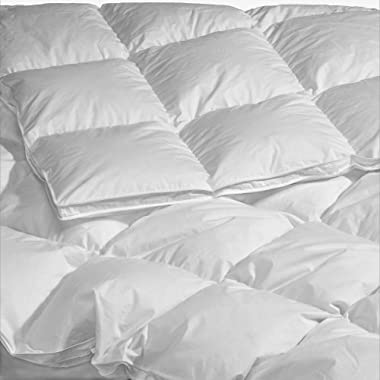 Highland Feather Manufacturing 40-Ounce La Rochelle European Down Duvet, Queen, White