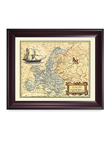 - DECORARTS- Europe Map, Ancient Map Giclee Print Wall Art for Home Decor and Wall Decor. Framed Size: 24x20