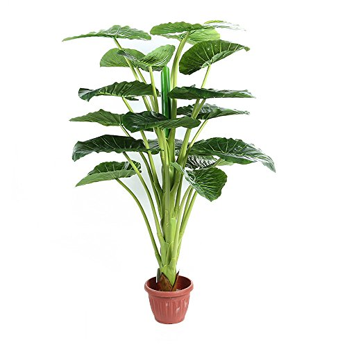 Artificial Elephant Ear Plants with Large Silk Green Leaves Indoor Outdoor Tree 3.85-Feet, With No Pot (YG793#)