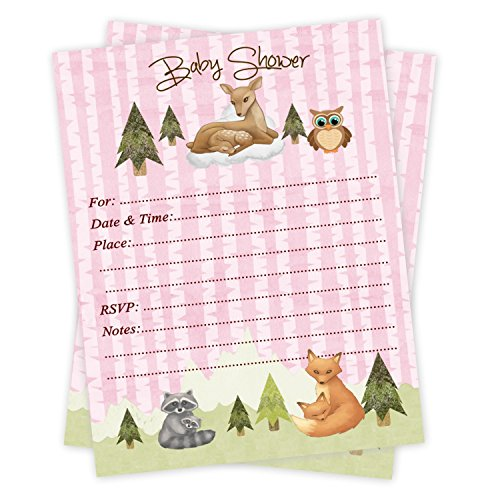 Girl Woodland Baby Shower Invitations 20 Count With Envelopes (Invitations Wording Baby Girl Shower)