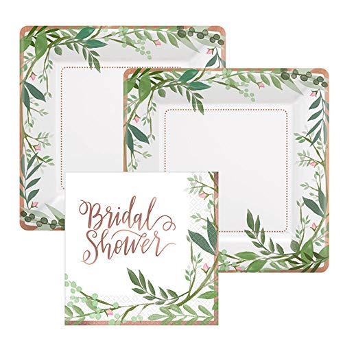 Rose Gold Foil Bridal Shower Paper Dessert Plates and Paper Napkins, 16 Servings, Bundle- 3 Items