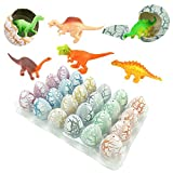 Magic Dinosaur Eggs,ZICA 24 Pcs Cute Hatching Growing White Crack Dinosaur Eggs with Mini Toy Dinosaur Figures Inside