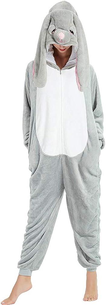 ANBOTA Easter Bunny Costume Rabbit Onesie for Adult Women Men Halloween Pajama